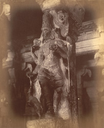 Close view of pillar with sculptured figure from the Pudu Mandapa, Minakshi Sundareshvara Temple, Madurai. 10032311